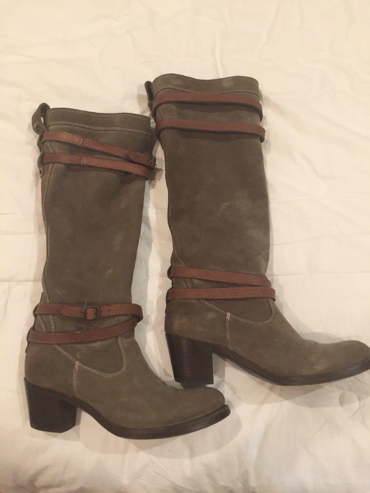 Frye Jane Strappy Tall Knee Boot 8.5 Olive Khaki VGUC