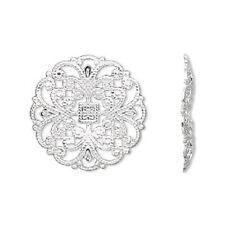 1734FY  Charm Link Silver ptd Brass 22mm Filigree Round Flower 22mm, 24 Qty