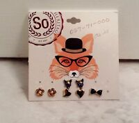 Heart, Flower Fox And Bow Stud Earrings 3 Pairs And 1 Single Stud Earring