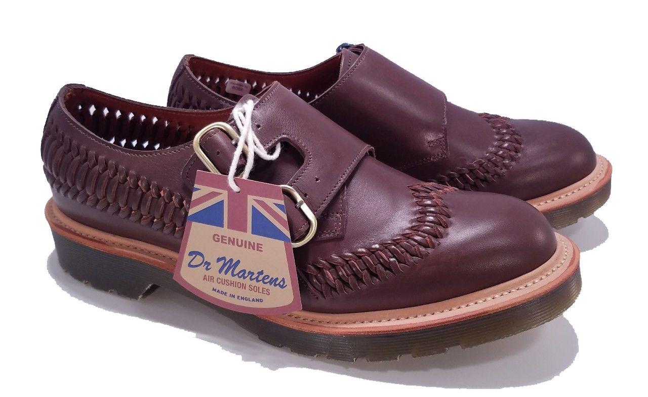 Dr. Martens Doc MIE England Dark Brown Beaumont Braider Pelle Shoe US 8
