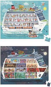 Janod Chapeau Coffret 2 Puzzles Cruise Ship - 100 Et 200 Pcs Jouets En Bois Jeux Entièrement Neuf Sous Emballage-afficher Le Titre D'origine Bon Pour AntipyréTique Et Sucette De La Gorge