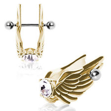 1 (ONE) Gold Plated Feathered Angel Wings Ear Cuff with Gem Cartilage Earring