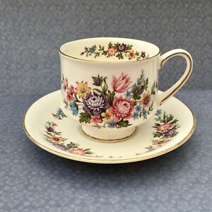 PARAGON-LAVINIA-CUP-amp-SAUCER-SET-1960s-FLORAL-BLUE-amp-PINK-GILDED-CHINA