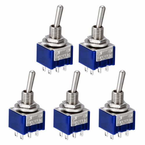 5pcs//10pcs MTS-202 6A 125V AC 6-Pin DPDT ON-ON Mini Toggle Switch Switches﹑UK