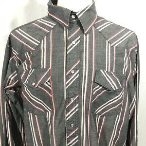 Wrangler-Western-Shirt-Vintage-Mens-Long-Sleeve-Gray-Pearl-Snap-Shirt-XL
