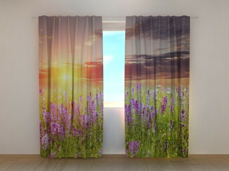 Curtain with Print Sunset over the Meadow Scenery Print Wellmira Ready Made 3D