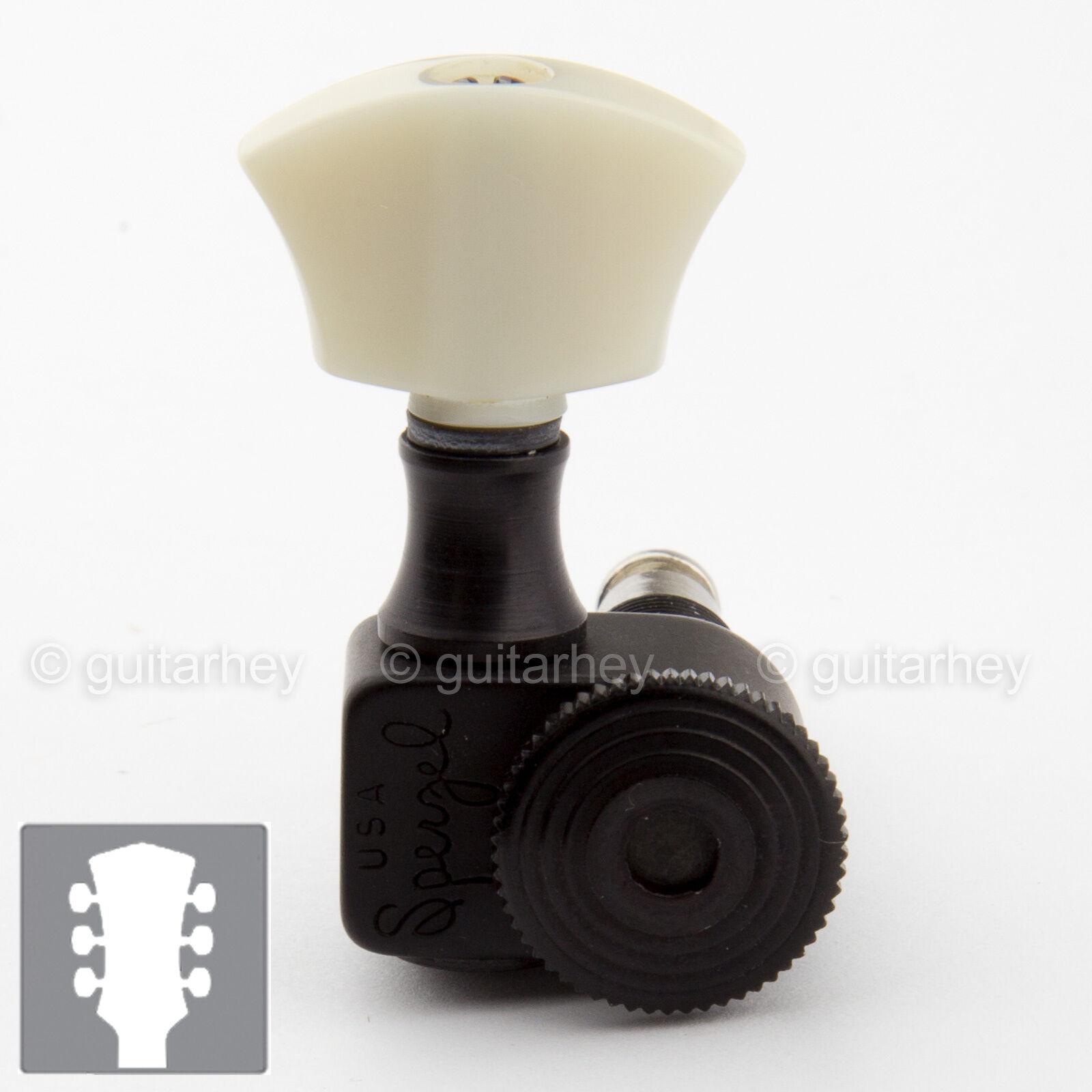 NEW Sperzel Tri ok Locking Guitar Tuners Trim-Lok w  PEARL Buttons 3x3 - schwarz