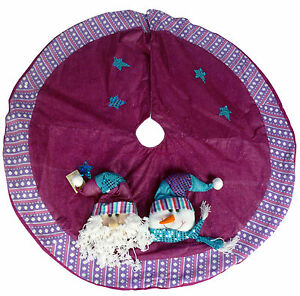 Details About 48 Inch Beautiful Pink Purple Christmas Tree Skirt With Santa Snowman Ds25