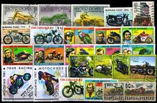 Motor Cycles on Stamps -25 Different Large World Wide Mixed Thematic used Stamps