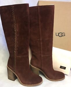b8f239d24c0 Details about UGG Australia Maeva Suede Pull On Heeled Boots Mahogany  1018941 Whipstitched