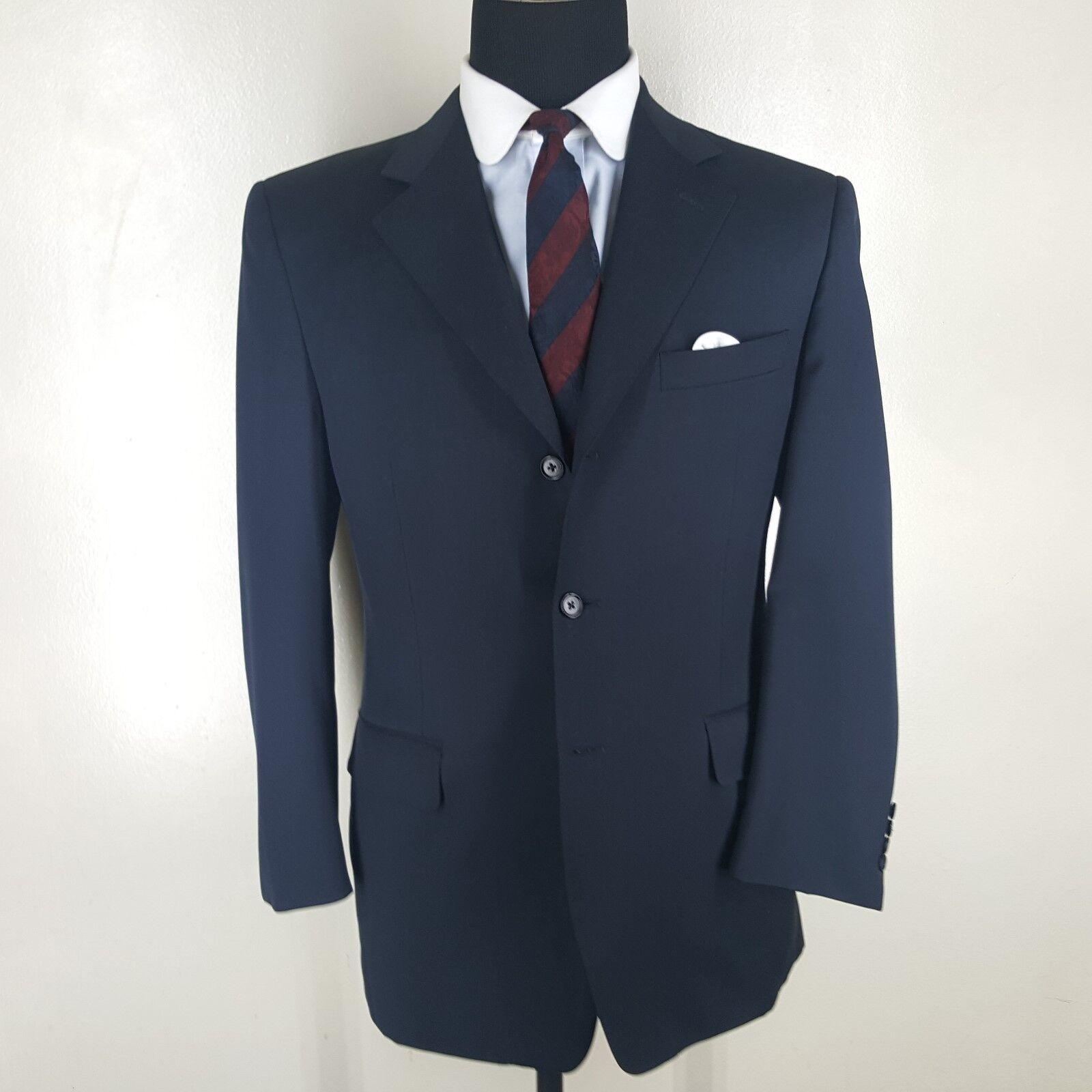 CANALI Dark bluee Blazer 3 Btn Side Vents 4  Season Wool   40 R- Fit 40 R- 42 Reg