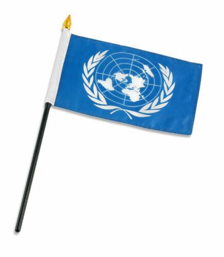 "United Nations Flag 4/""x6/"" Desk Set Table Stick"