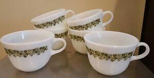 Set of 6 Vintage Pyrex Corelle Crazy Daisy Coffee Tea Cups