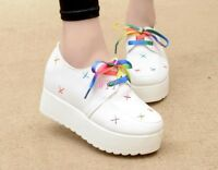 Women's Multi Color Round Toe Lace Up Platform Casual Creeper Shoes Trainer Size