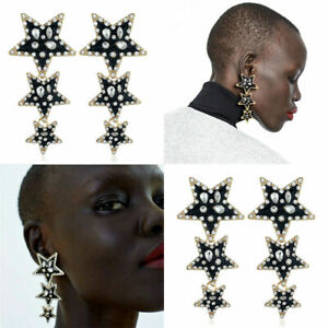 New-Women-Fashion-Crystal-Rhinestone-Dangle-Black-Star-Ear-Stud-Earrings-Jewelry