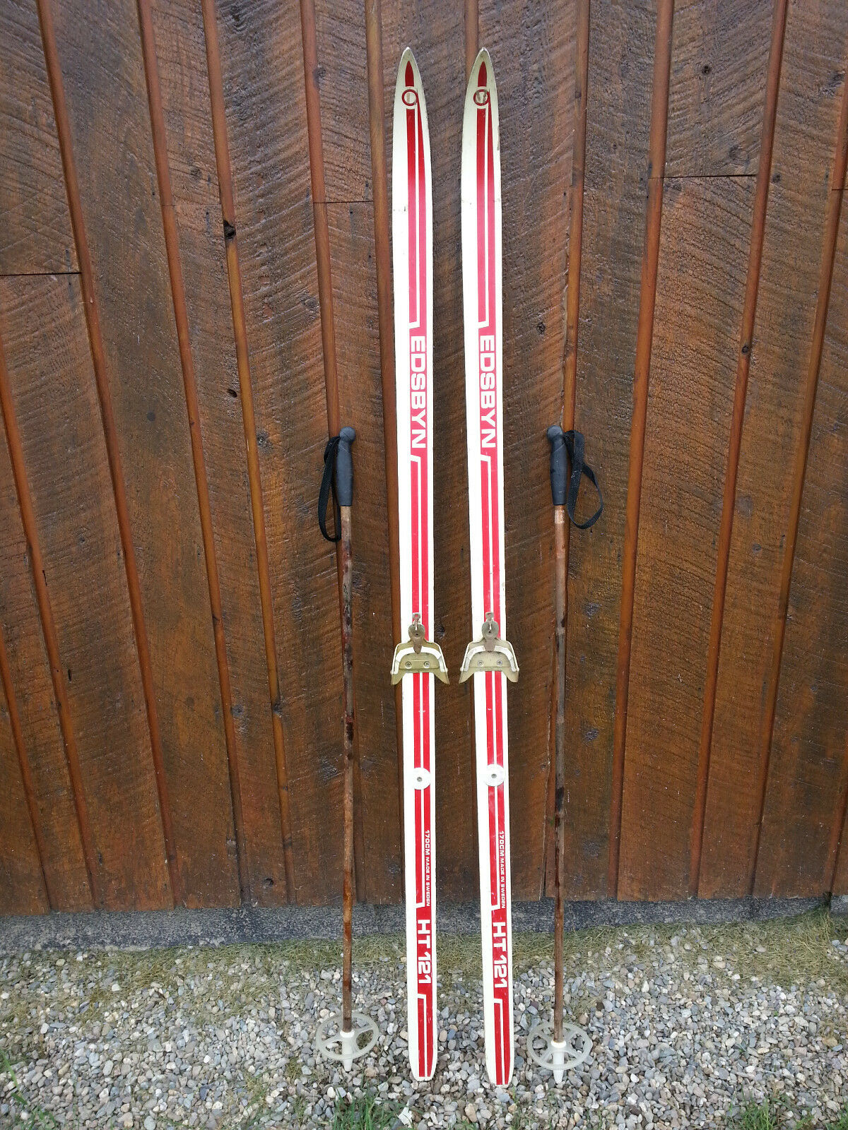 VINTAGE Wooden 66  Skis Has RED WHITE Finish  Signed EDSYBYN + Bamboo Poles  store sale outlet