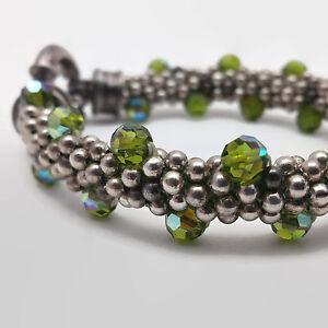 Woven-Bead-Sterling-Silver-amp-Green-Crystal-Bead-Bracelet