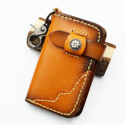 Men/'s Genuine Leather Key Wallet Cowhide Unisex Card Case Car Key Bag Key Holder