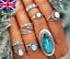 8 Pcs//Set Silver Ring Boho Festival Ethnic Knuckle Midi Thumb Finger Blue UK