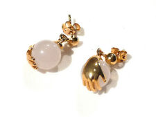 Bijou alliage doré boucles d'oreilles clous quartz rose earrings