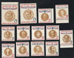 USA 1957-1961 Champions of Liberty issue 8¢, MH set of 13