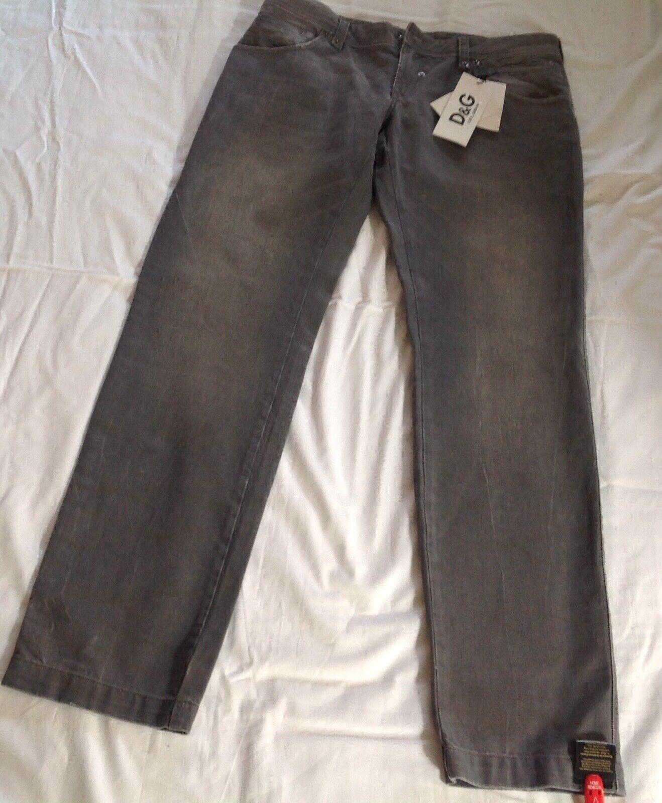 DOLCE&GABBANA Men's grau Distressed Straight Leg Jeans. Größe 34