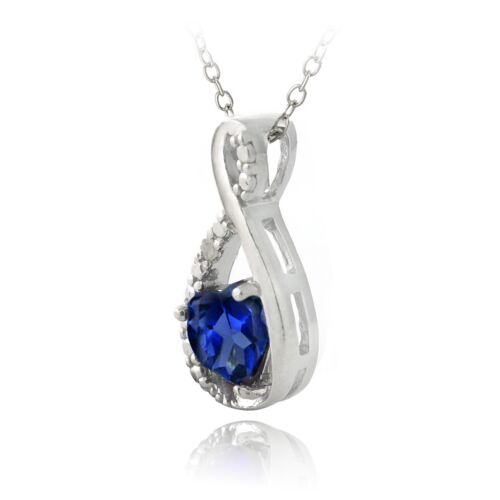 Silver Lab Created Sapphire /& Diamond Accent Infinity Heart Pendant /& Earrings