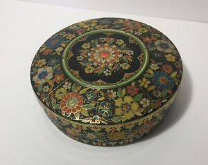 Vintage-Tin-Canister-From-Holland-Round-8-3D-Embossed-Floral