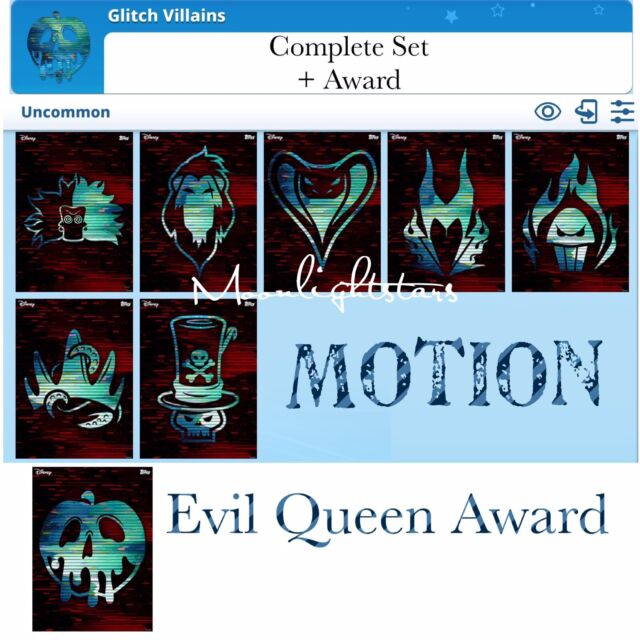 Topps Disney Collect - Glitch Villains - Complete Set + Award *Digital