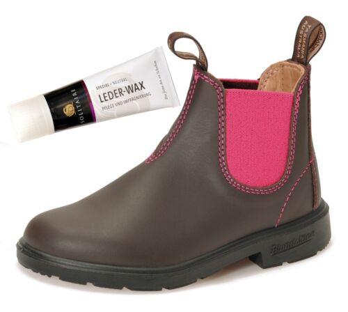 Blundstone 1410 Blunnies Kinder Chelsea Boots Mädchen Lederwax Braun Pink