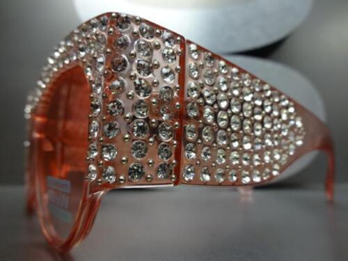 OVERSIZE VINTAGE RETRO Style SUN GLASSES Pink Frame Lens Bling Crystals HANDMADE