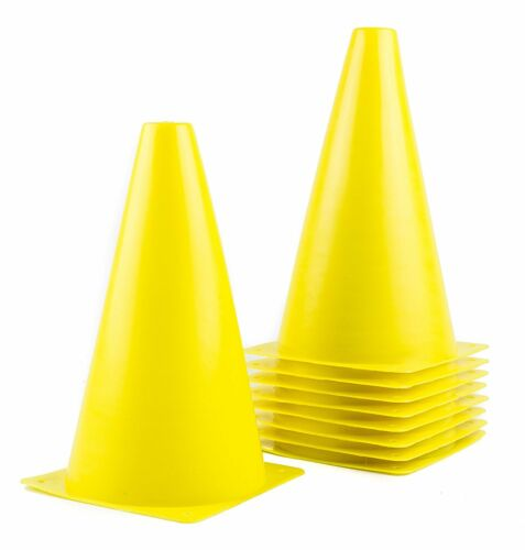 """9/"""" Tall YELLOW 10pcs Sports Training Safety Cone,Plastic SPORT-CONE-YE"""