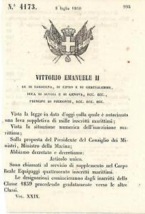 Regio-Decreto-1860-Vittorio-Emanuele-II-Supplemento-di-400-marittimi