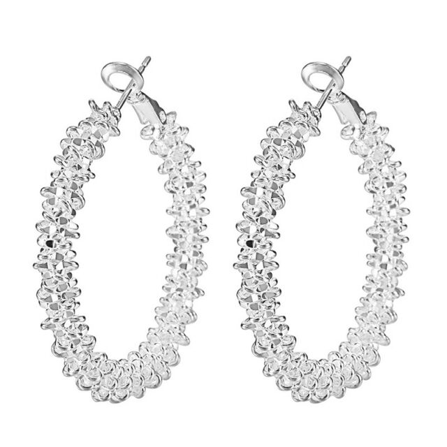 "Women Jewelry Plated ""Stars"" Hoop Dangle Earring(Silver) E6P7"
