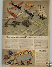 1942 PAPER AD Model Kits Strombecker Army Tank Flying Fortress Yorktown Spitfire