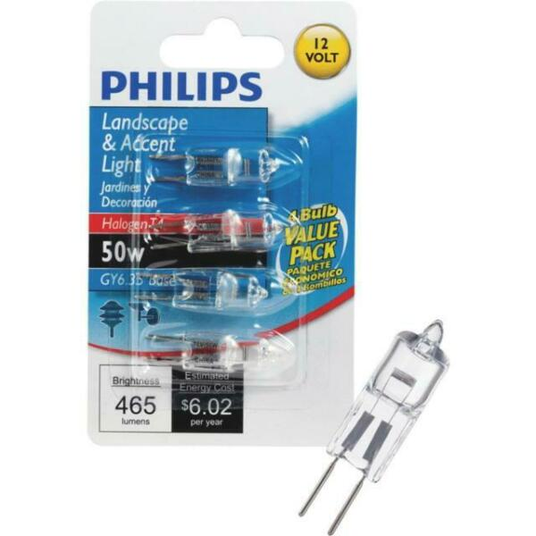 LOT OF 2 4 Pack Philips 50 Watts 465 Lumens 12V Halogen T4 Glass Wedge GY6.35