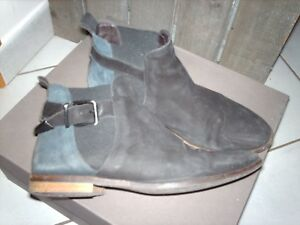 Détails sur Bottines SAN MARINA nubuck noir cuir bleu marine Pointure 37