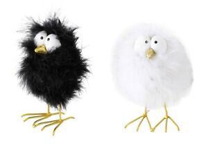 2-x-Vogel-Birthe-weiss-schwarz-Hoehe-12-cm-Ostern-Easter-Voegel-Tischdeko