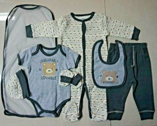 100/% Cotton 5 Variations 0-12M Baby Boy Romper 7pc Set