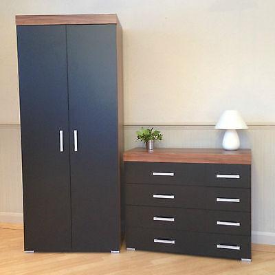 2 Door Wardrobe & 4+4 Chest of Drawers in Black & Walnut Bedroom Furniture 8 NEW
