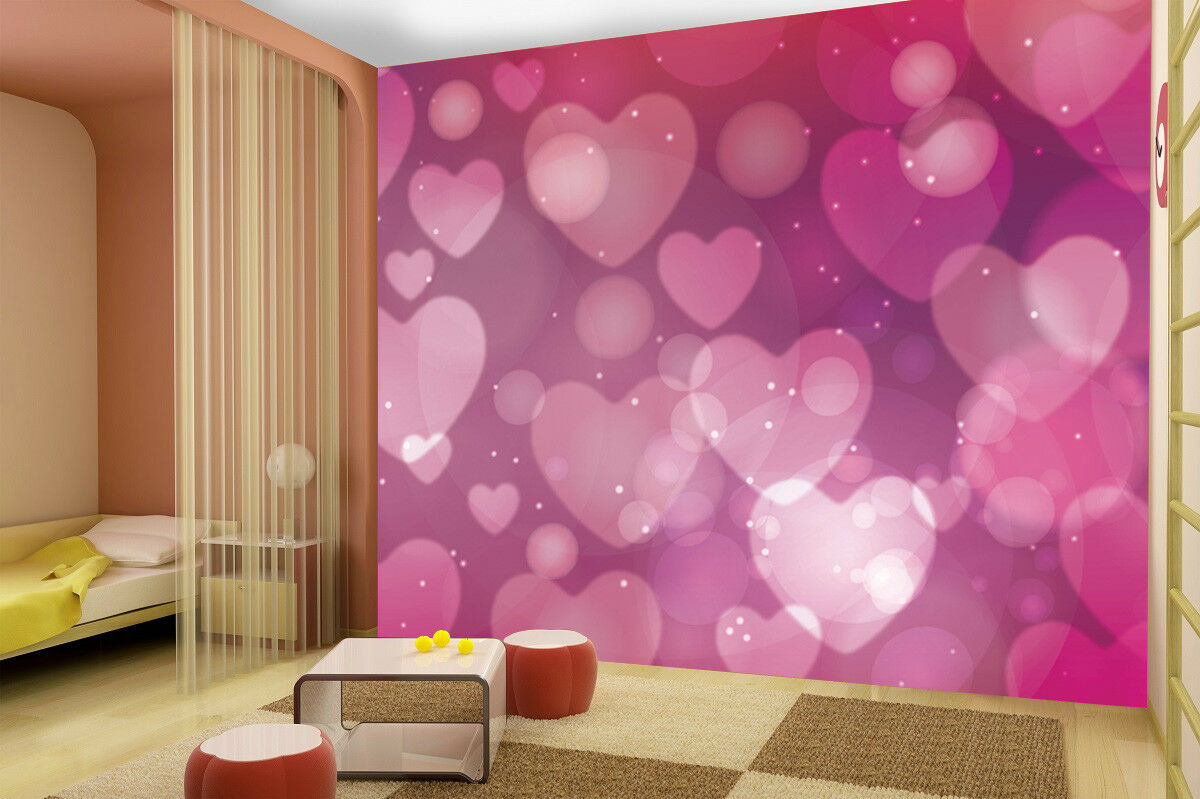 3D hearts colourful wallpaper photo wall mural 12215002 kid/'s bedroom