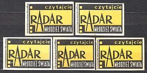 POLAND-1959-Matchbox-Label-Cat-Z-165-Read-the-034-RADAR-034-Youth-of-the-World