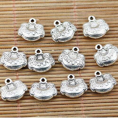 tono plata tibetana diseño de bloqueo Chino De Longevidad encantos EF1584 12 un