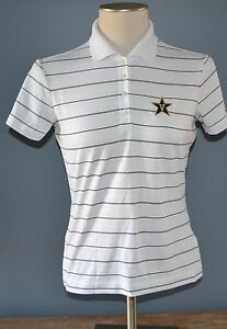 Womens-White-Black-Striped-NIKE-Golf-Polo-Shirt-size-S-Small-NCAA-Dri-Fit