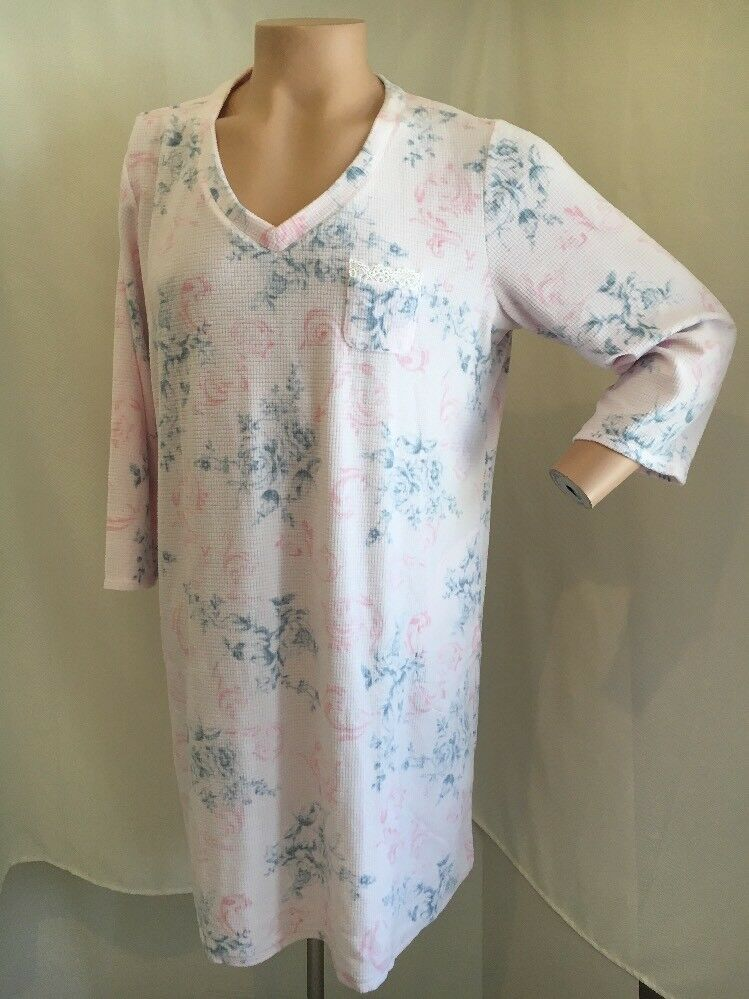 NWT 2X Miss Elaine  Soft Warm Thermal Fleece Pink Grey Floral Nightgown Plus