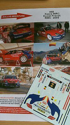 DECALS 1//24 REF 1002 CITROEN XSARA WRC DUVAL RALLYE AUSTRALIE RALLY 2005