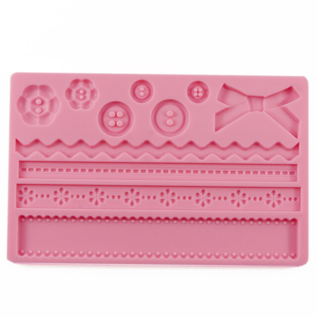 Baroque Buttons Bows Zigzags Silicone Fondant Mould Xmas Birthday Cake *REDUCED*