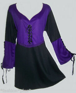 Plus-Size-Gothic-Top-Tunic-Lace-up-Purple-Black-Grey-14-18-22-26-32-36