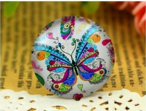 2 xmulti coloured butterfly glass cabochons size 25mm