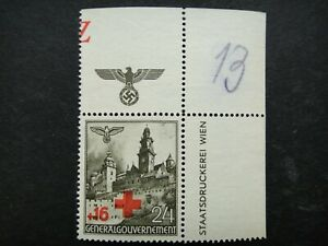 Germany Nazi 1940 Stamp MNG Red Cross Swastika Eagle Generalgouvernement WWII Th